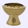 Travel Sized Brass Pentacle Incense Burner 2 1/2 in